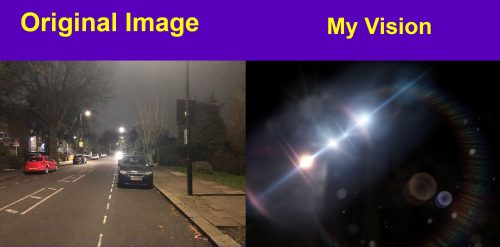 Left image: Original image - Street with a car at night Right image: My vision - Black image with glared headlights