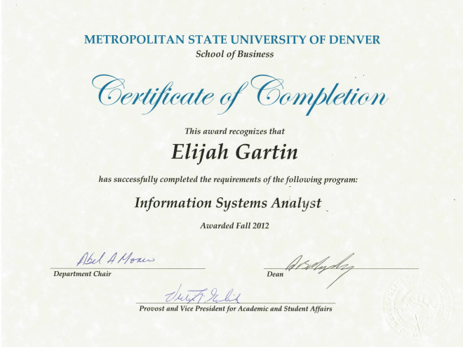 Information Systems Analyst Certificate