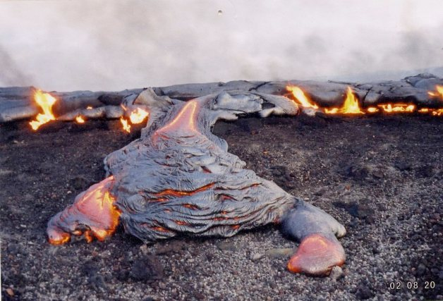 Pahoehoe lava flow, observed whilst working as a gas geochemist at the Hawaiian Volcano Observatory