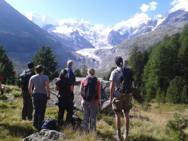 MSc in Glaciology students getting their first glimpse of Vadret da Morteratsch, Switzerland. Copyright 2014 Tom Holt