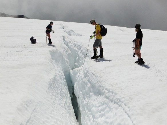 Collecting crevasse depth in Columbia snow pack