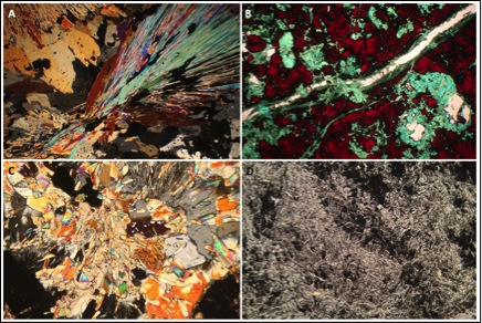 Figure 2: Working as a mineralogist provides access to whole kaleidoscope of petrographic images. A: muscovite fan; B: red cuprite with green malachite and aquamarine chrysocolla; C: mineral explosion with illite 'bursting' out of calcite and quartz, and D: hematite needles with a few isolated grains of gold. Photo credit: Christopher Brough