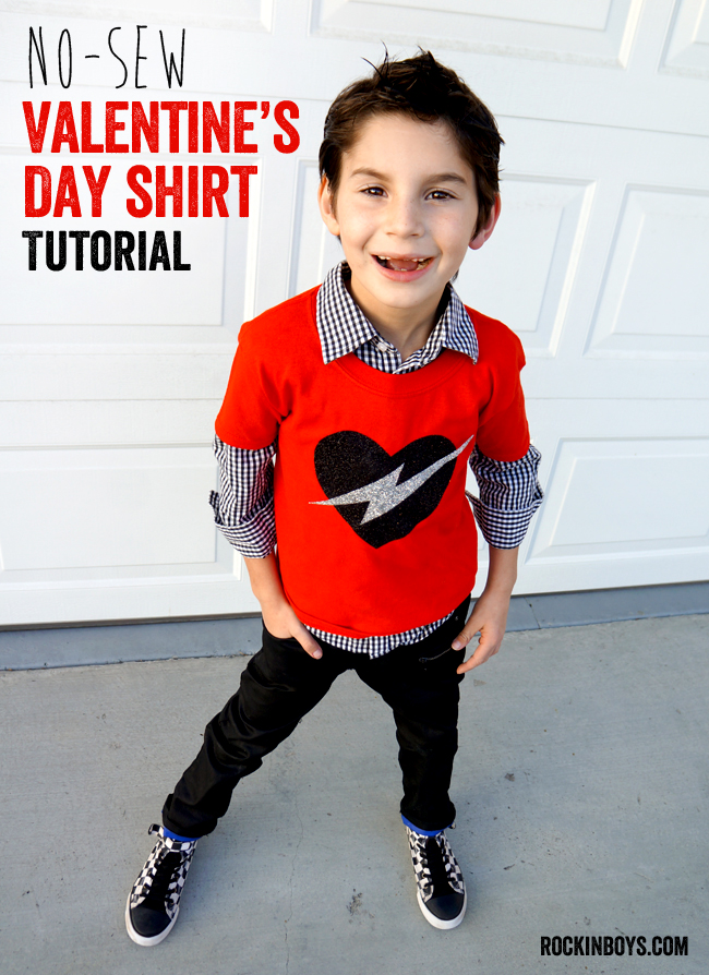 Easy No Sew Valentines Day Shirt Tutorial Rockin Boys Club