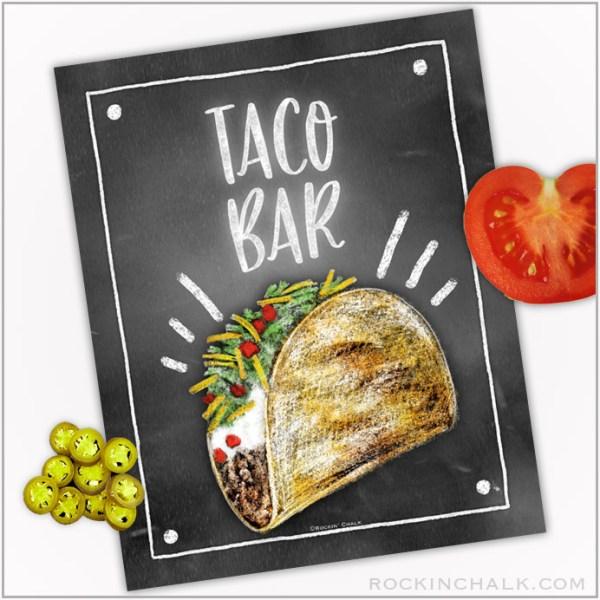 Taco Bar Food Station Sign