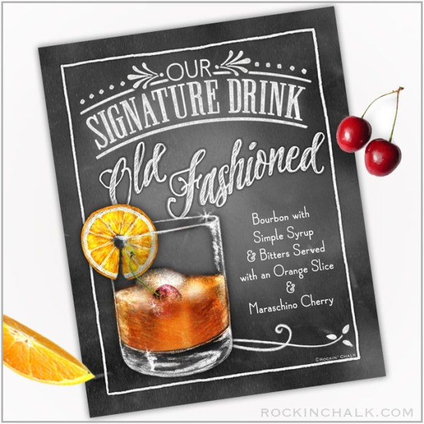 Old Fashioned Cocktail with orange and cherry
