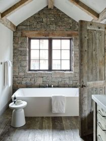 Rustic farmhouse style bathroom design ideas 18