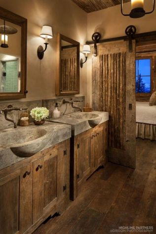 Rustic farmhouse style bathroom design ideas 32