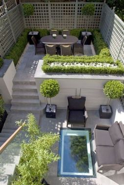 Small courtyard garden with seating area design and layout 7