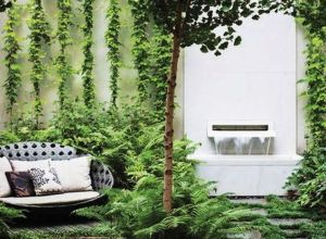 Small courtyard garden with seating area design and layout