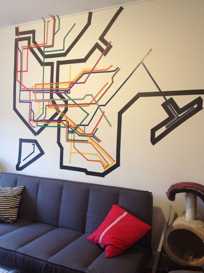 Inspiring Creative DIY Tape Mural for Wall Decor 48