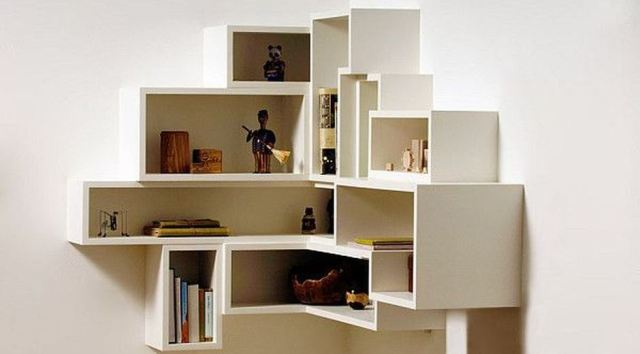 Corner Wall Shelves Ideas for Living Room