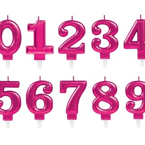 Metallic Pink Birthday Candles 7.5 cm