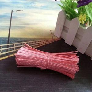 Pink Dots Twist Ties 10cm (100 pieces)