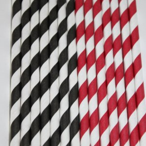 24 Black & Red paper straws