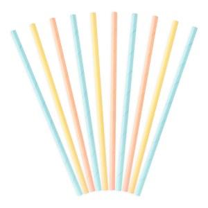 10 Pastel Multi-color paper straws