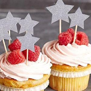 Silver Star Cupcake Toppers (Pack of 12)