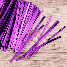 Metallic Purple Twist Ties 10cm (100 pieces)