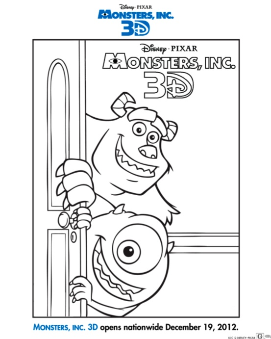 In Theaters: MONSTERS, INC. 3D Plus Printable Activities