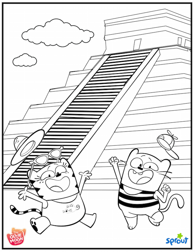 Ollie and Moon Mexico Coloring Page