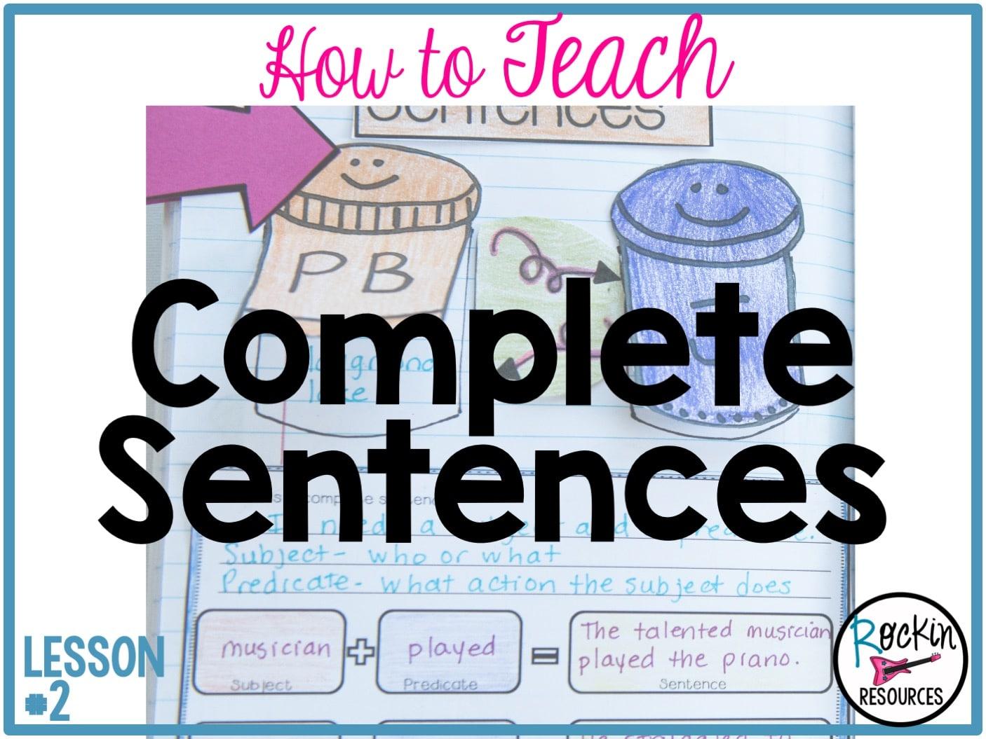 Writing Mini Lesson #2- Complete Sentences   Rockin Resources [ 1055 x 1406 Pixel ]