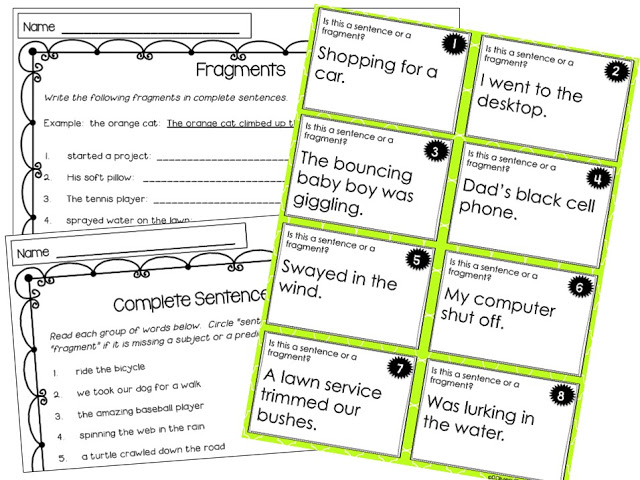 Writing Mini Lesson 3 Fragments Rockin Resources – Sentence and Fragment Worksheets