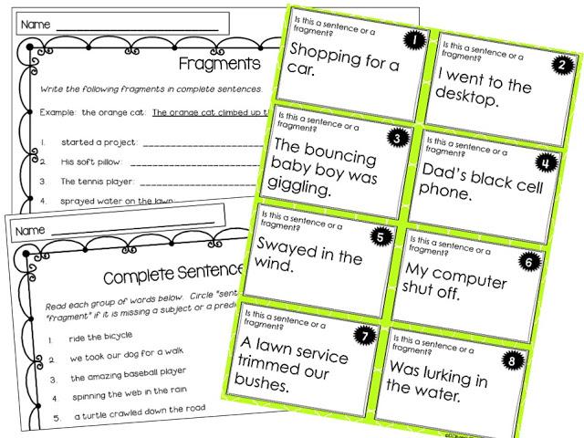 Fragment task card and fragment worksheets