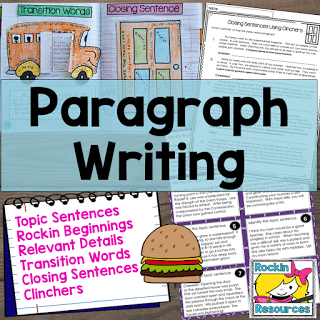 topic sentence, relevant details, closing sentence