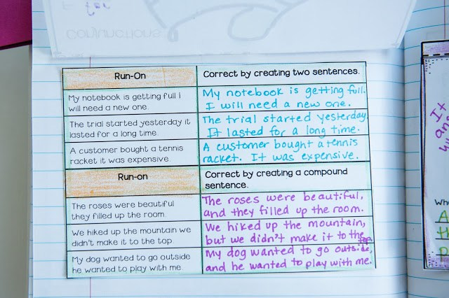 interactive writing notebook for run-ons