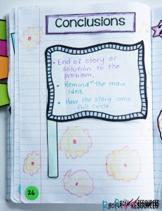 writing mini lesson writing the conclusion of a narrative  this is an example of an interactive writing notebook page using a finish line flag for the graphic so students can have a visual for finishing or ending