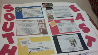 Research Southeast Native Americans poster with climate, religion, food, homes transportation, and weapons.