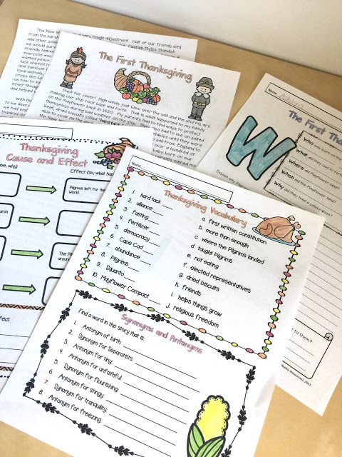 cause and effect, vocabulary, 5W's, text connection with Thanksgiving story