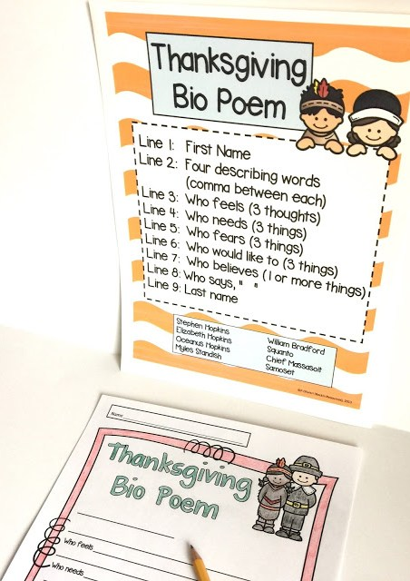 choose a person from thanksgiving and write a biography poem