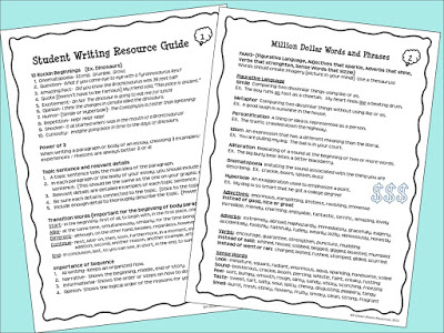student resources for writing workshop