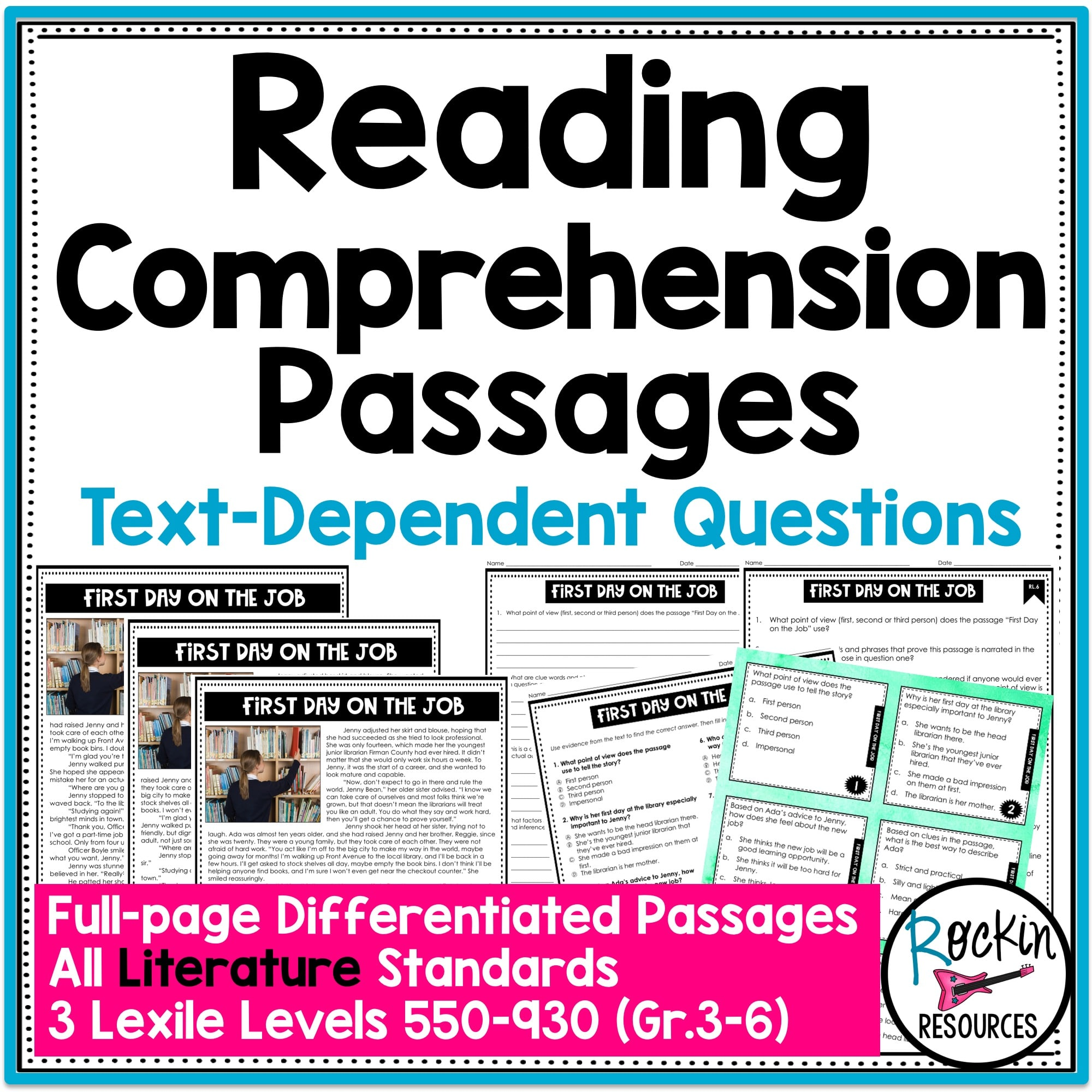 - 4th Grade Literature Reading Comprehension Passages Rockin Resources