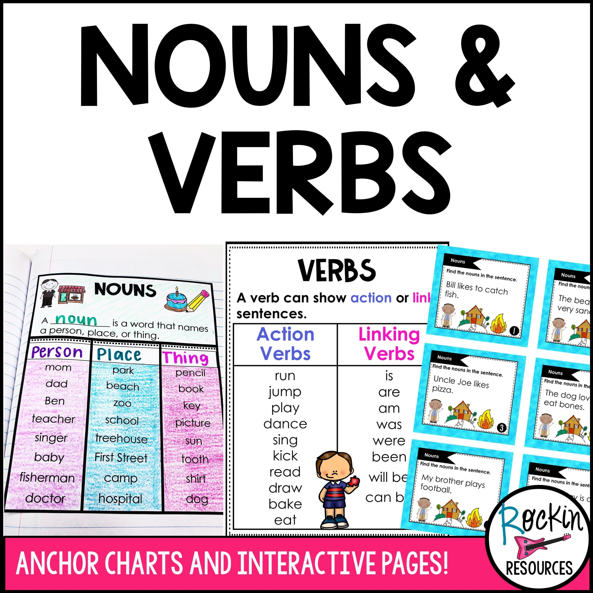 Nouns and Verbs   Rockin Resources [ 2000 x 2000 Pixel ]