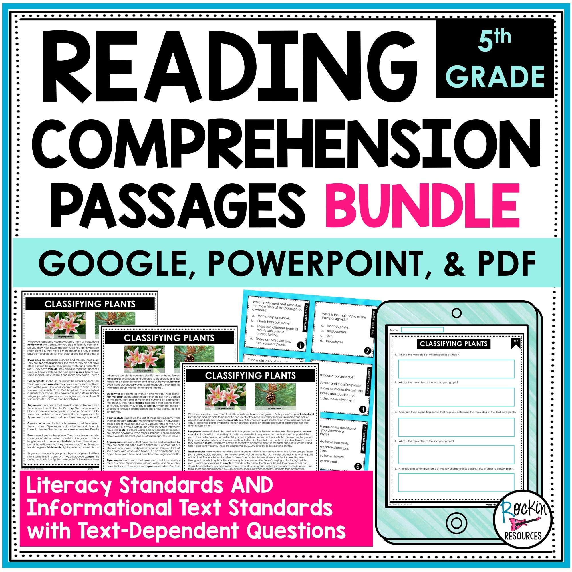 5th Grade Reading Comprehension Passages Bundle   Rockin Resources [ 2000 x 2000 Pixel ]