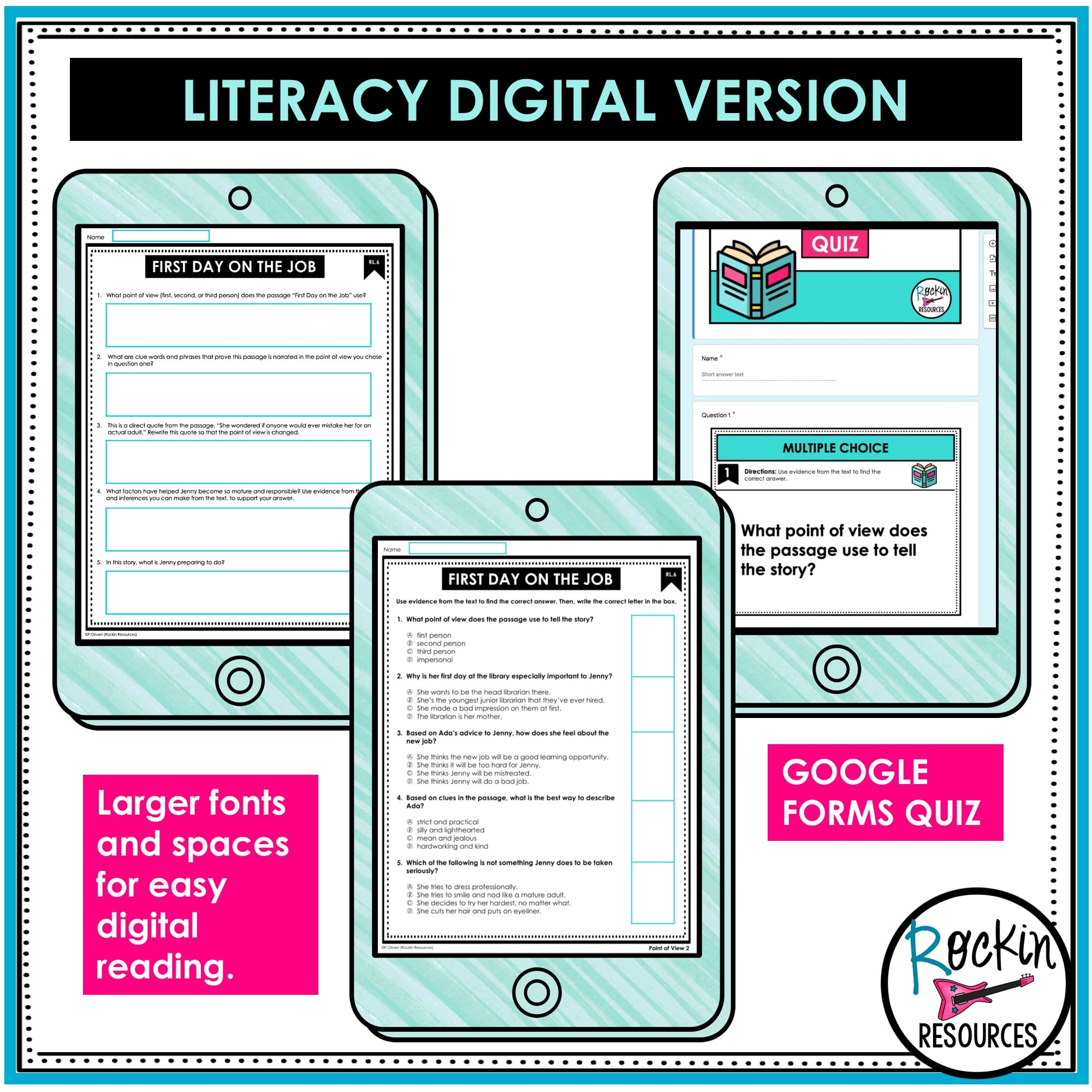 small resolution of 4th Grade Reading Comprehension Passages Bundle   GOOGLE   Rockin Resources