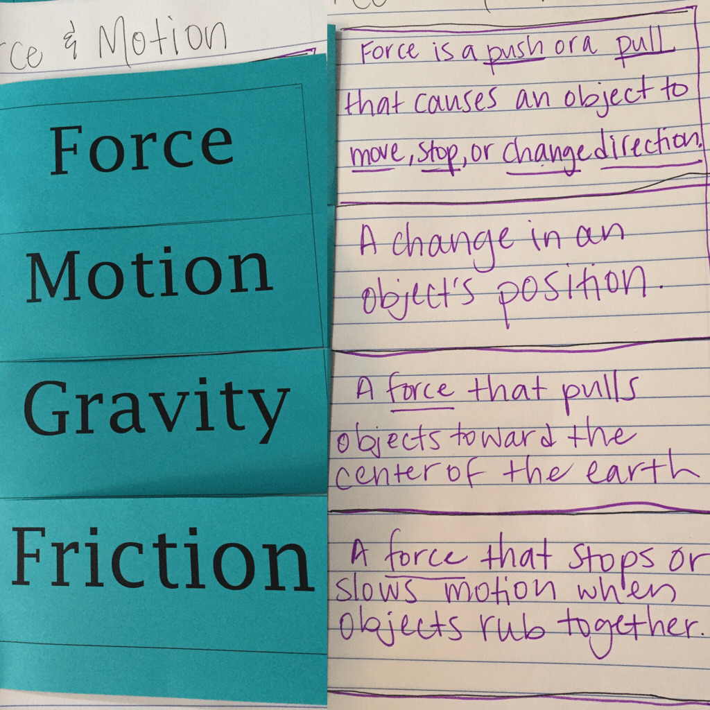 Force And Motion Vocabulary Foldable