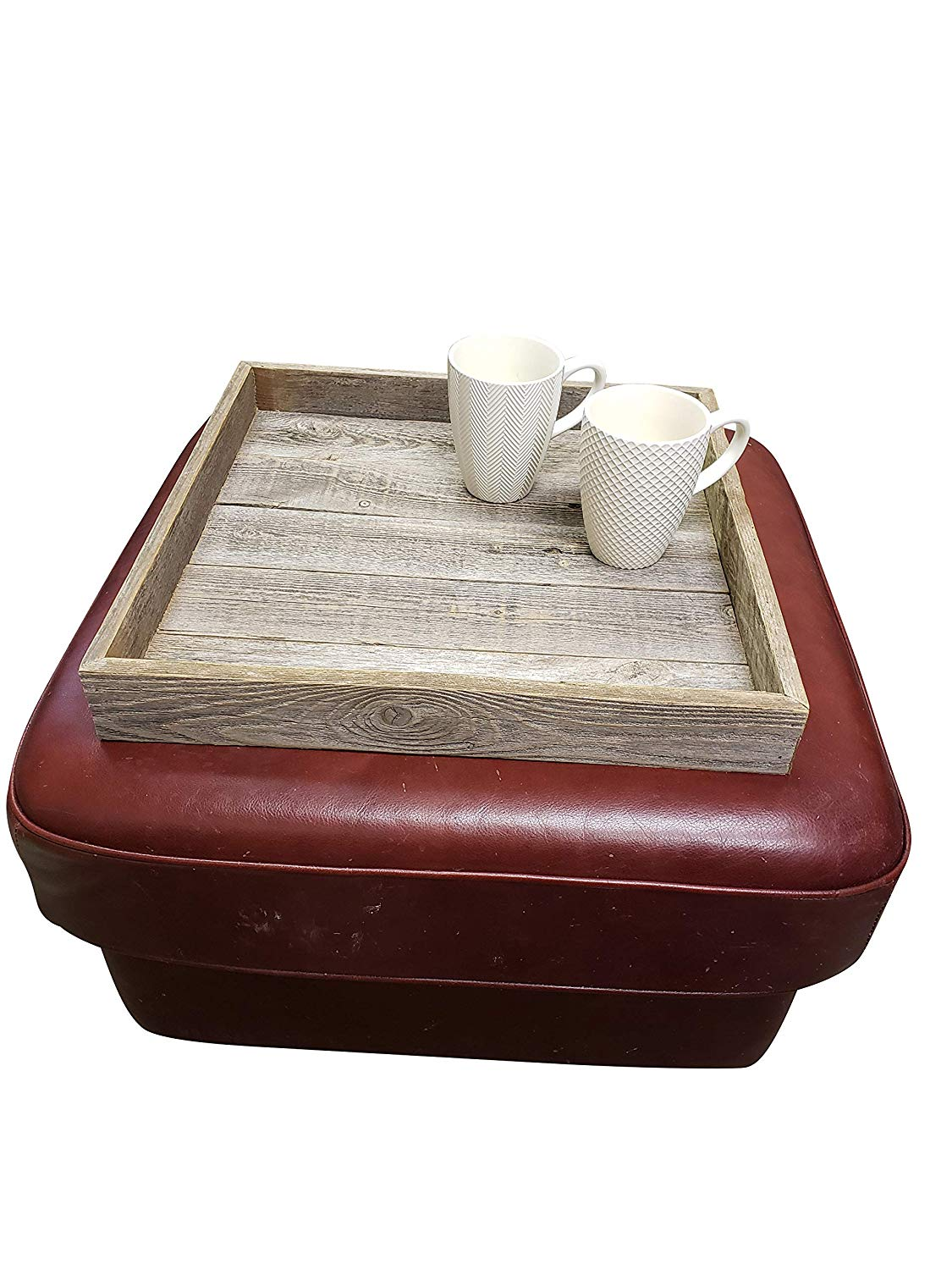 ottoman tray made with rustic reclaimed wood large square design for coffee table made in the usa grey