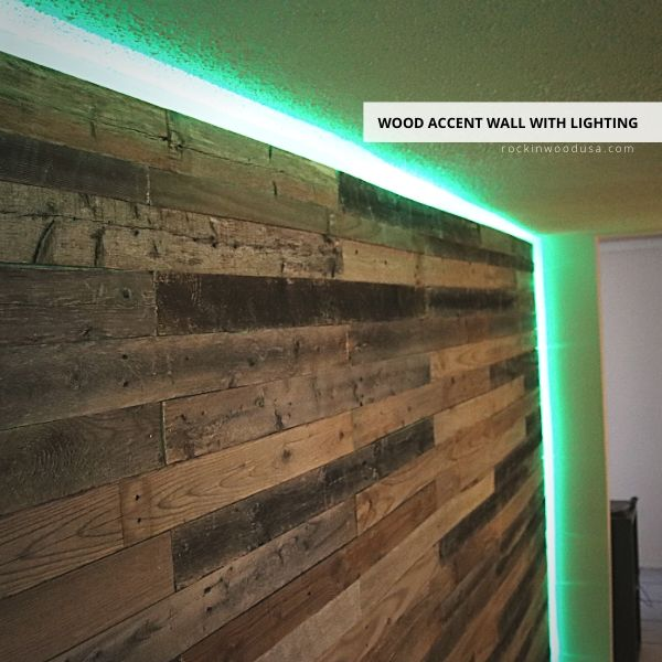 Wood Accent Wall with Lighting