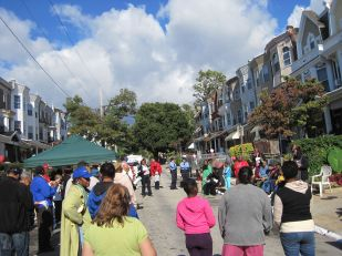 PMBC judges and block residents listen to Emaleigh talk about the block's history and recent accomplishments