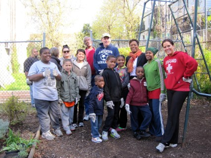 Some of our volunteers for the day with 8th District City Councilwoman Cindy Bass (in the orange scarf).