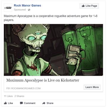Advertising your Kickstarter on Facebook