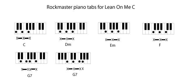 Lean On Me Piano Chords By Bill Withers Rockmaster Songbook