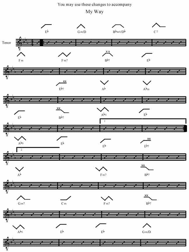 My Way Eb By Paul Anka Rockmaster Songbook