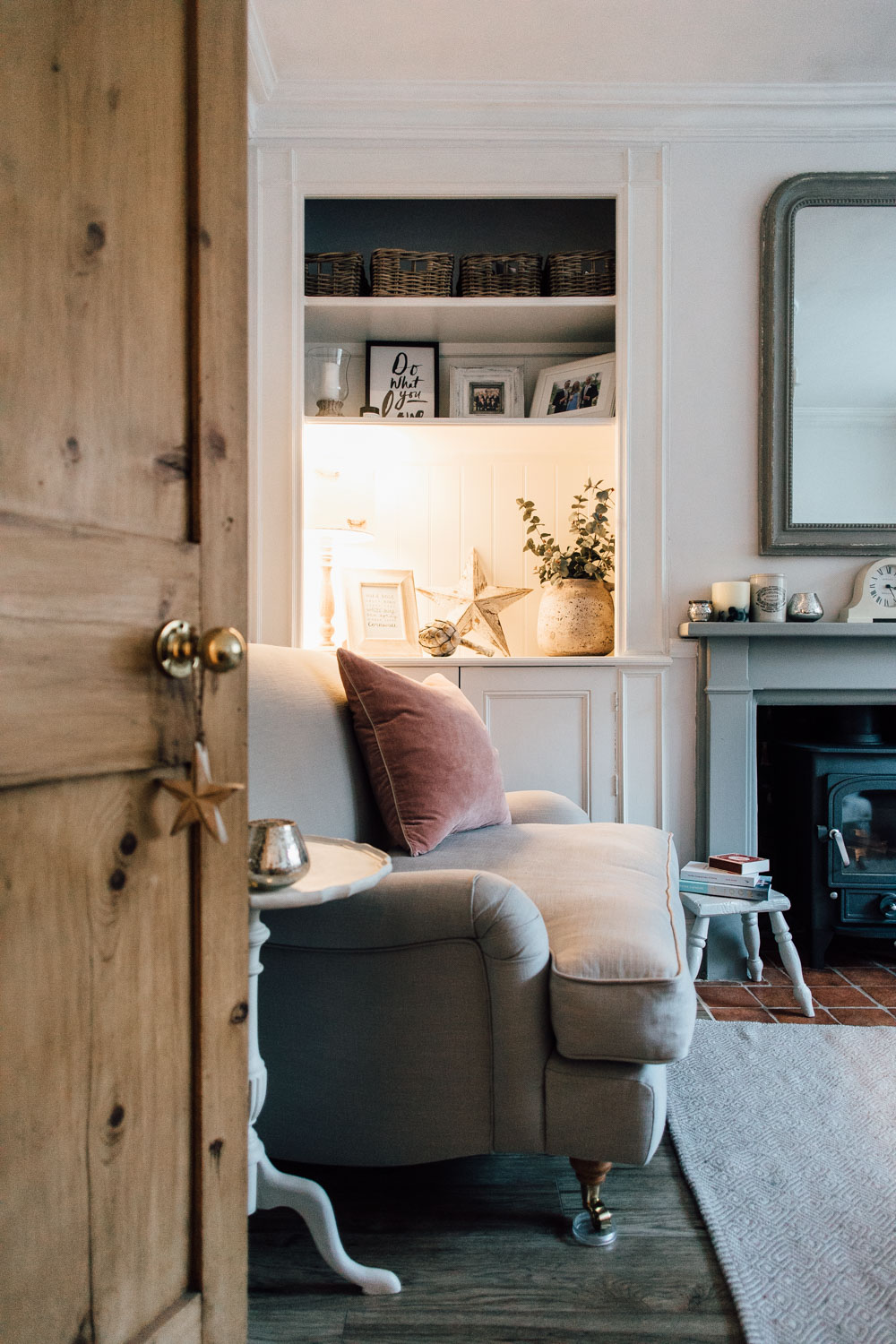 cosy living room with log burner color palette elle s modern country home downstairs rock my style uk daily and snuggler seat in a