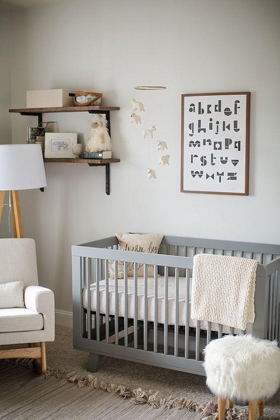 Stylish pale grey, wood and white unisex nursery inspiration