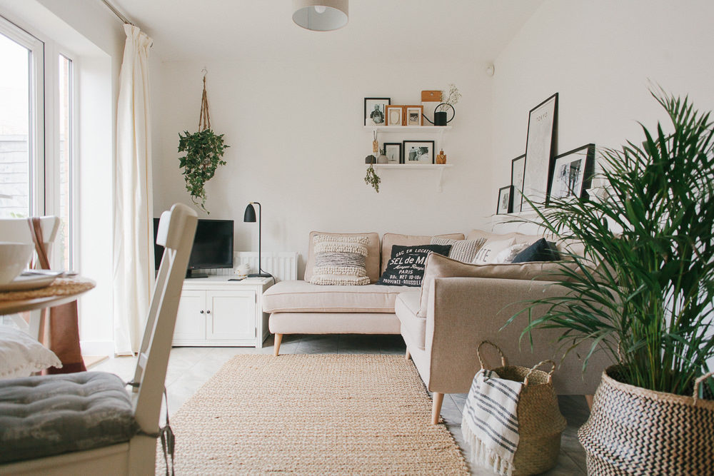 Scandi Boho Living Room Makeover Reveal in a New Build