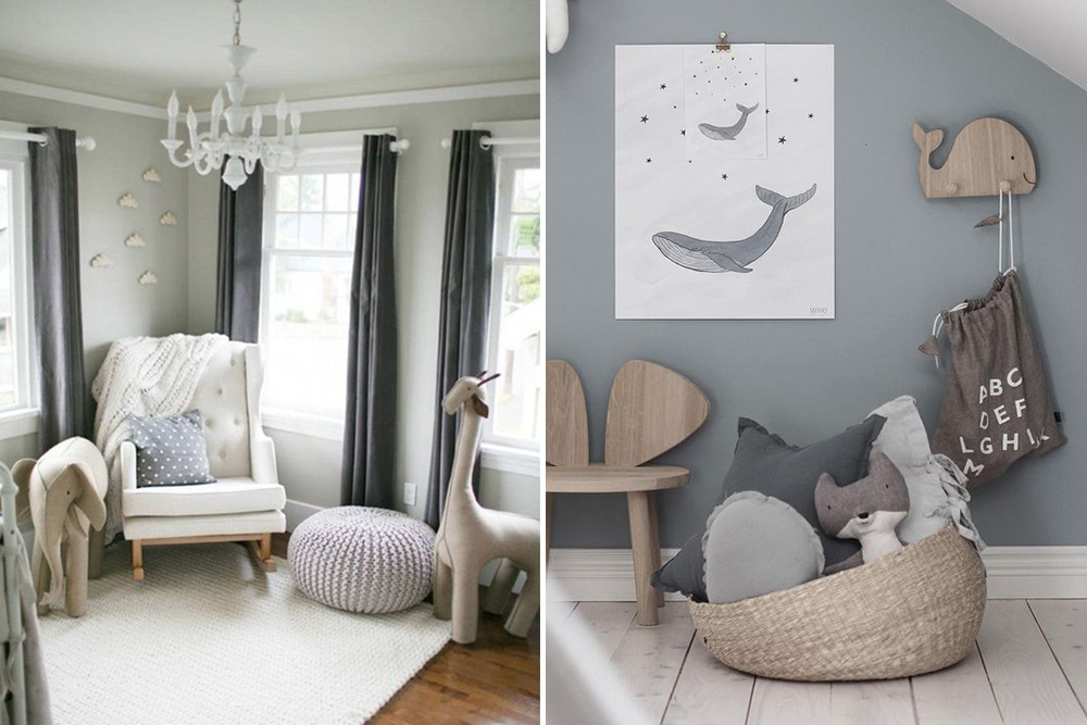 Baby Girl Nursery Pink Wallpaper Stylish Pale Grey Wood And White Unisex Nursery Inspiration