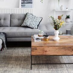 Pictures Of Grey Living Rooms Ashley Furniture Room Sets Stylish Monochrome And Inspiration With Greenery West Elm Sofa Coffee Table